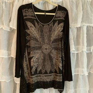 Skinny Minnie boho studded graphic tee